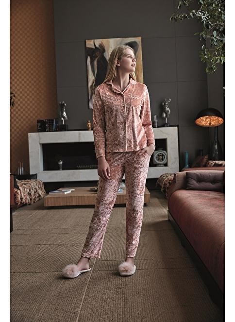 Anıl Kadın Sweatshirt Pijama Takım  Somon